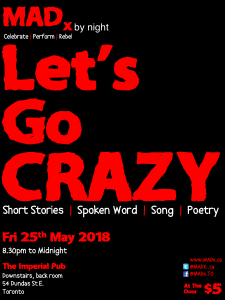 """Poster for MADx by night. Headline """"Let's Go Crazy"""""""